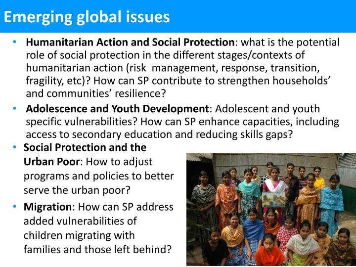 Emerging global issues