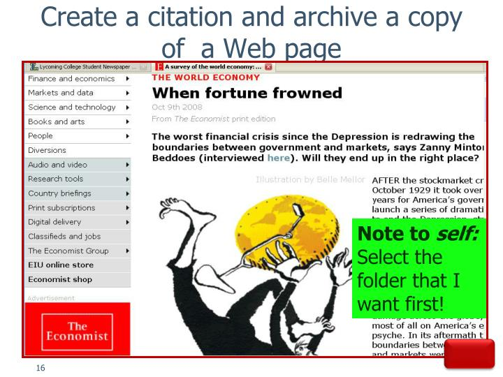 Create a citation and archive a copy of  a Web page
