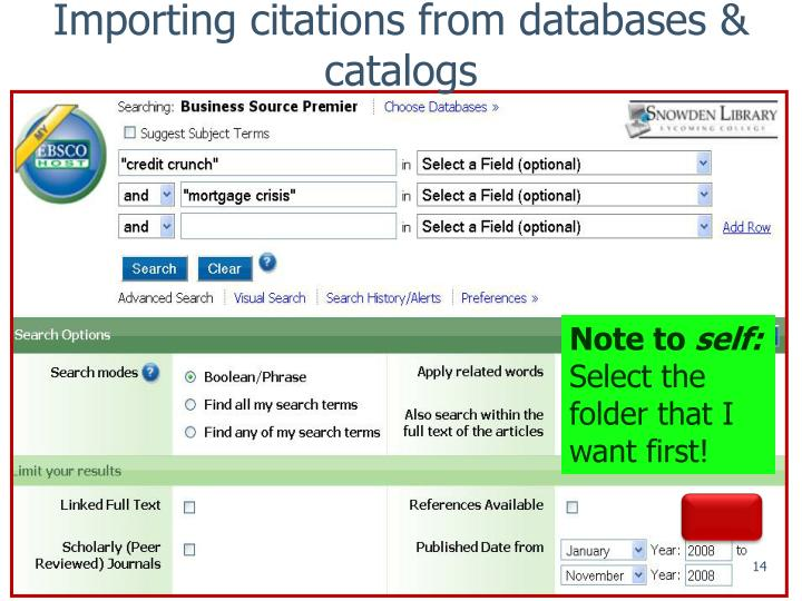 Importing citations from databases & catalogs