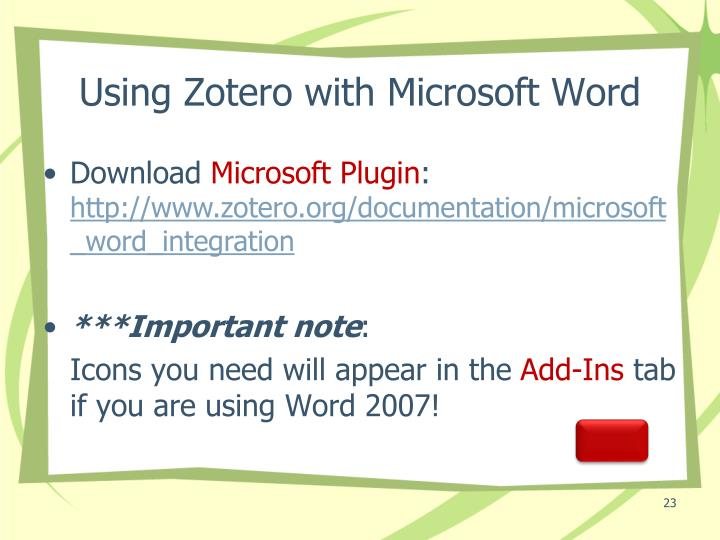 Using Zotero with Microsoft Word