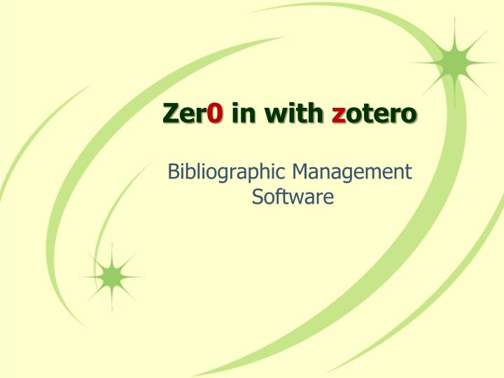 Zer 0 in with z otero