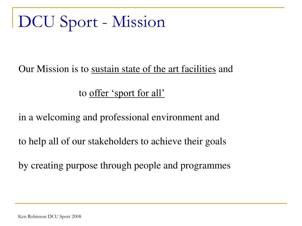 DCU Sport - Mission