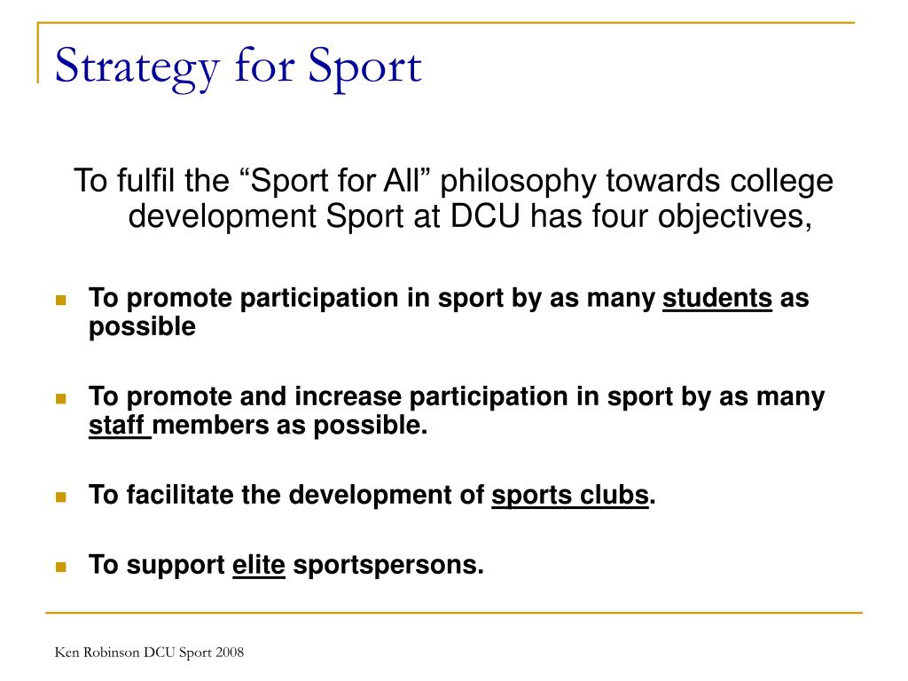 Strategy for Sport