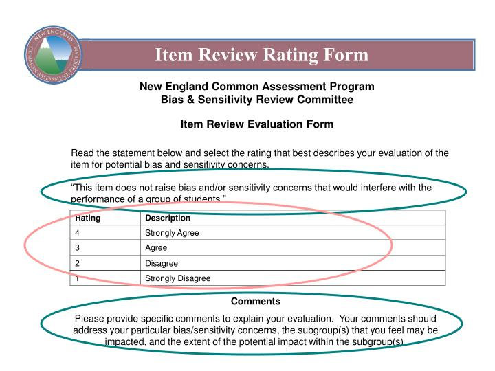 Item Review Rating Form
