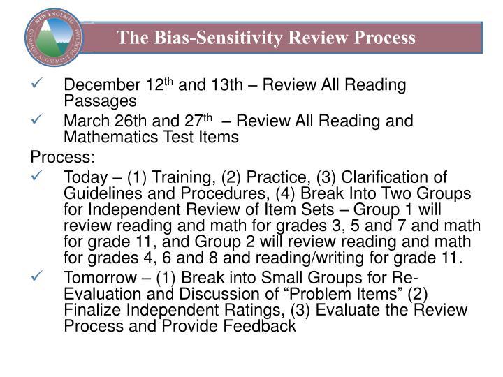 The Bias-Sensitivity Review Process