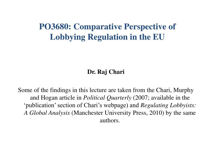 PO3680: Comparative Perspective of Lobbying Regulation in the EU