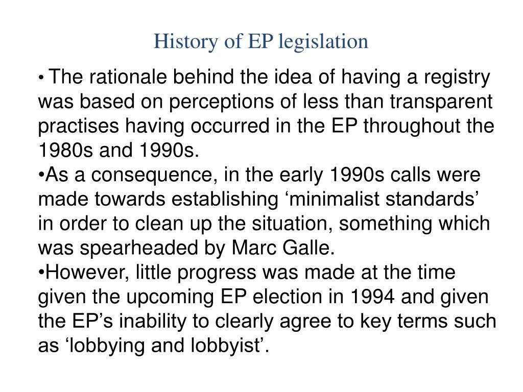 History of EP legislation