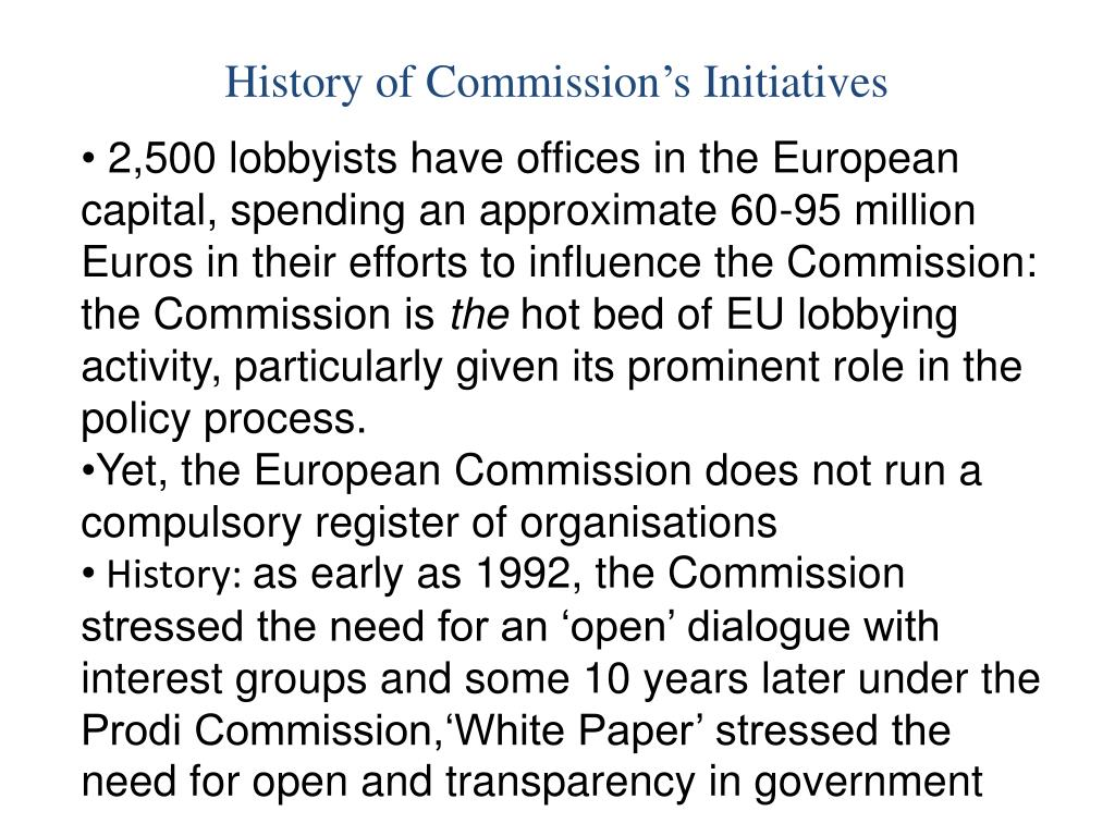 History of Commission's Initiatives