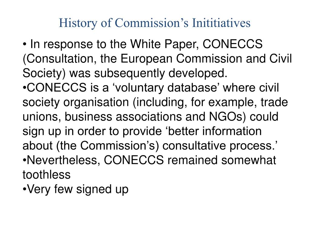History of Commission's Inititiatives