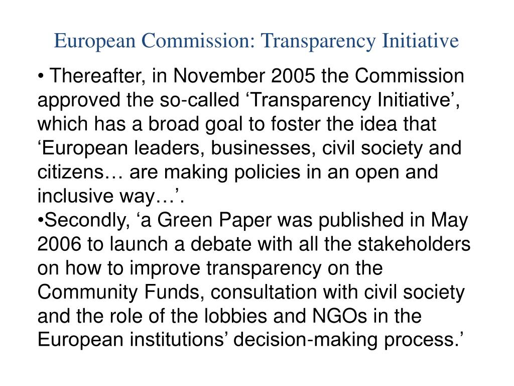 European Commission: Transparency Initiative