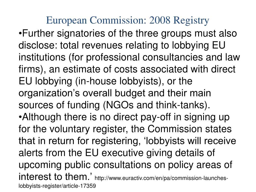 European Commission: 2008 Registry