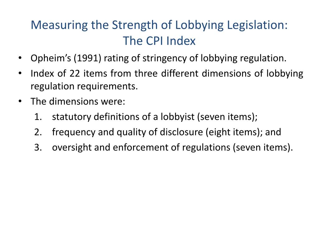 Measuring the Strength of Lobbying Legislation: The CPI Index