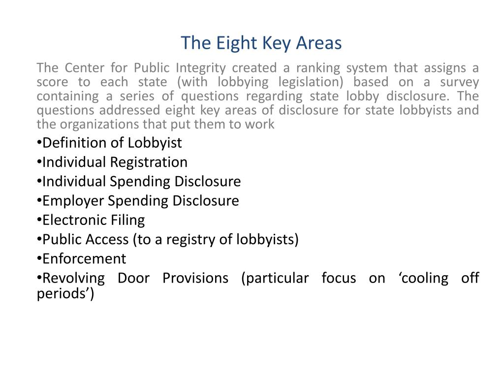 The Eight Key Areas