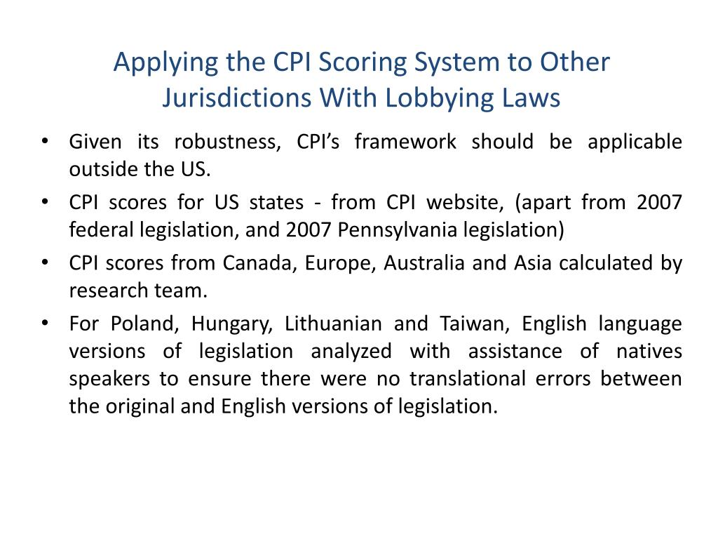 Applying the CPI Scoring System to Other Jurisdictions With Lobbying Laws