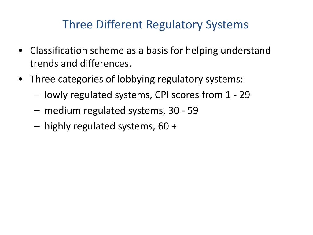 Three Different Regulatory Systems