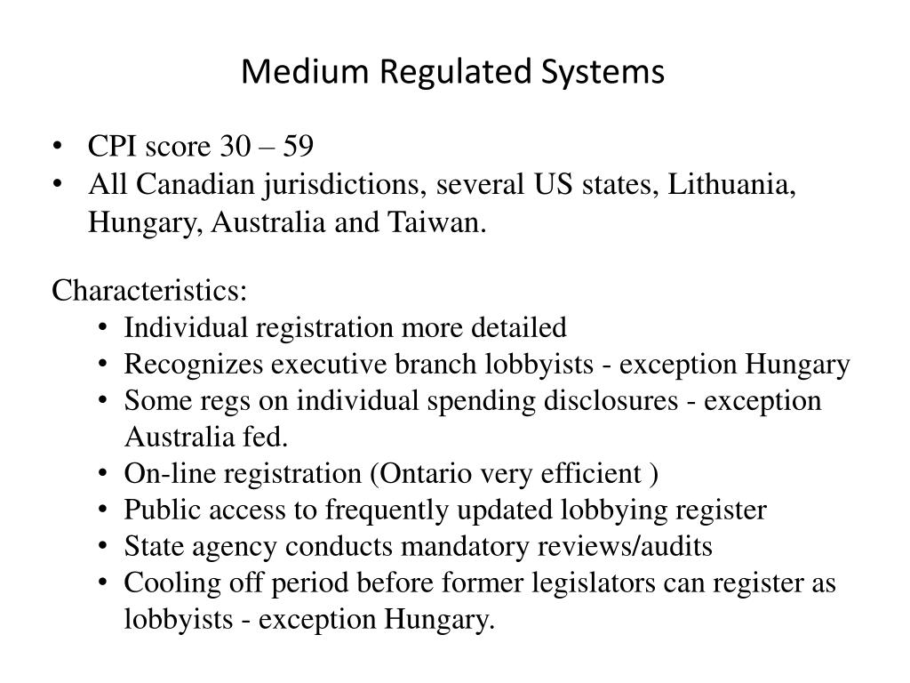 Medium Regulated Systems