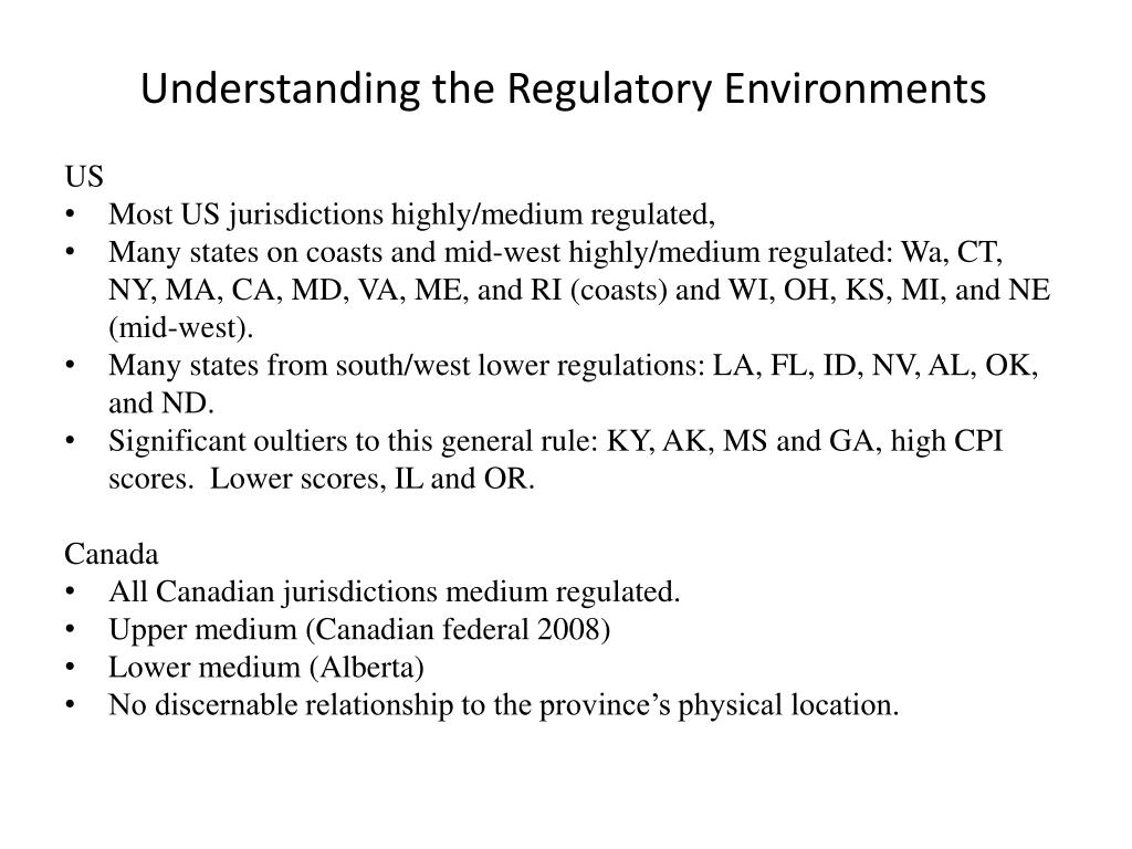 Understanding the Regulatory Environments
