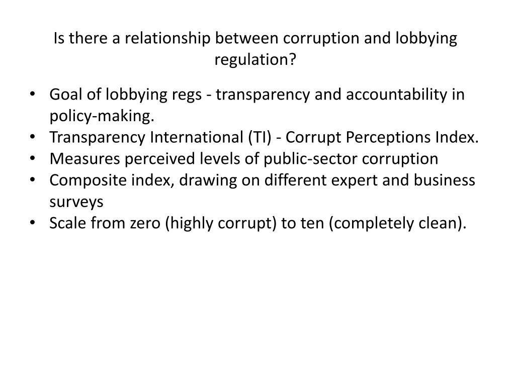 Is there a relationship between corruption and lobbying regulation?