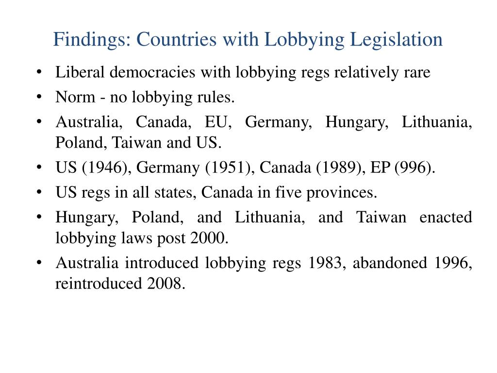 Findings: Countries with Lobbying Legislation