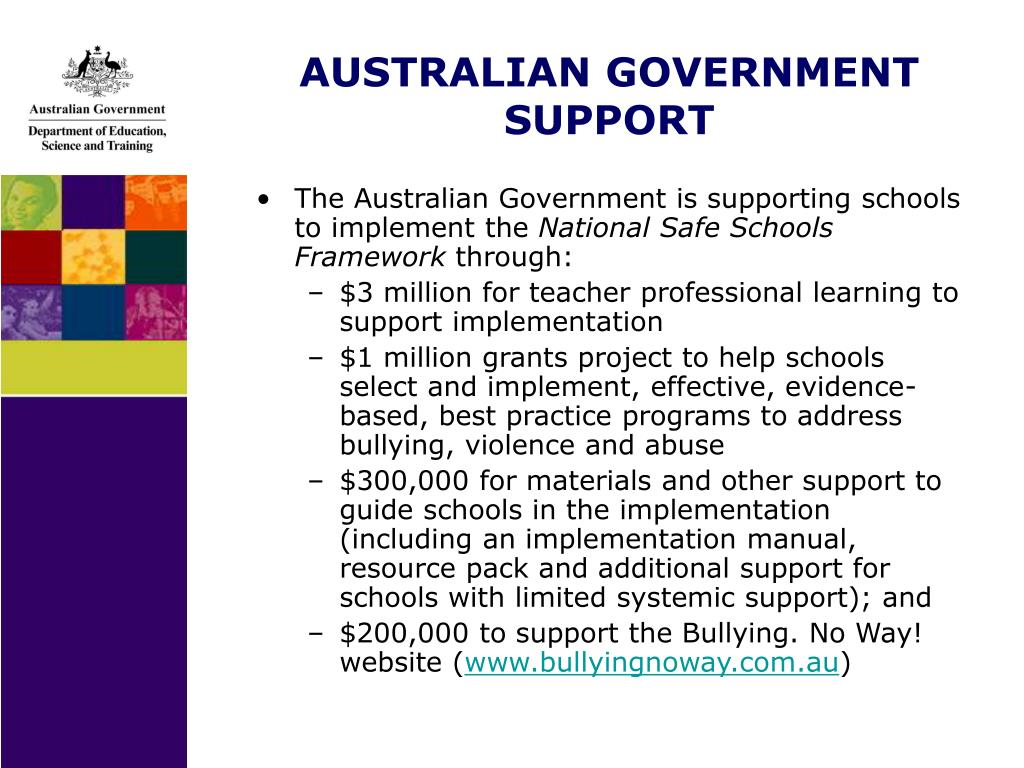 AUSTRALIAN GOVERNMENT SUPPORT