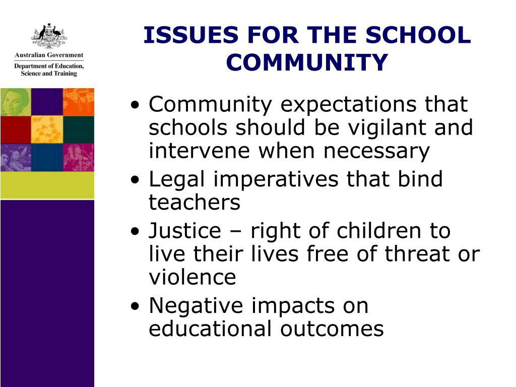 ISSUES FOR THE SCHOOL COMMUNITY