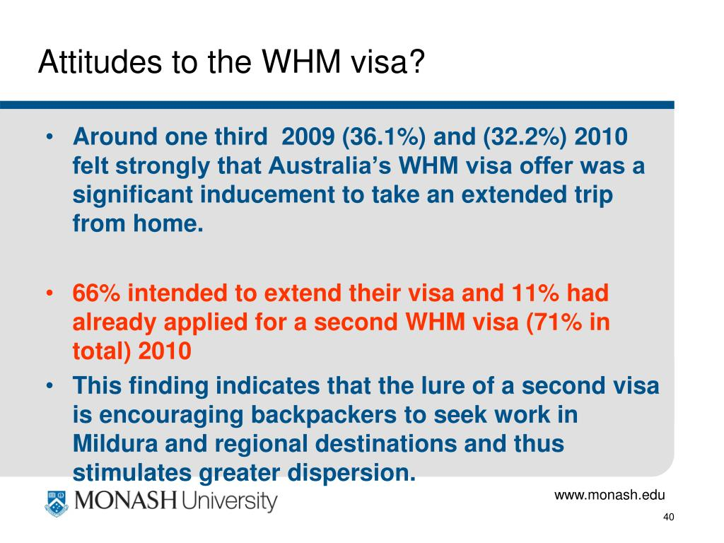 Attitudes to the WHM visa?