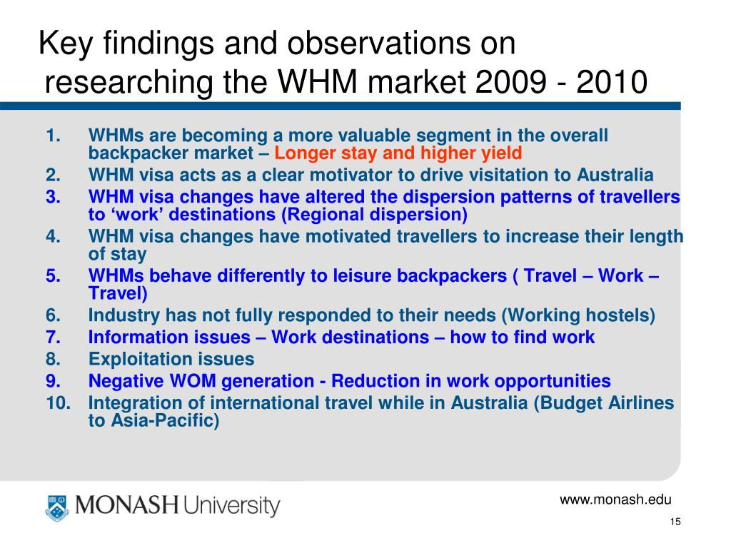 Key findings and observations on researching the WHM market 2009 - 2010