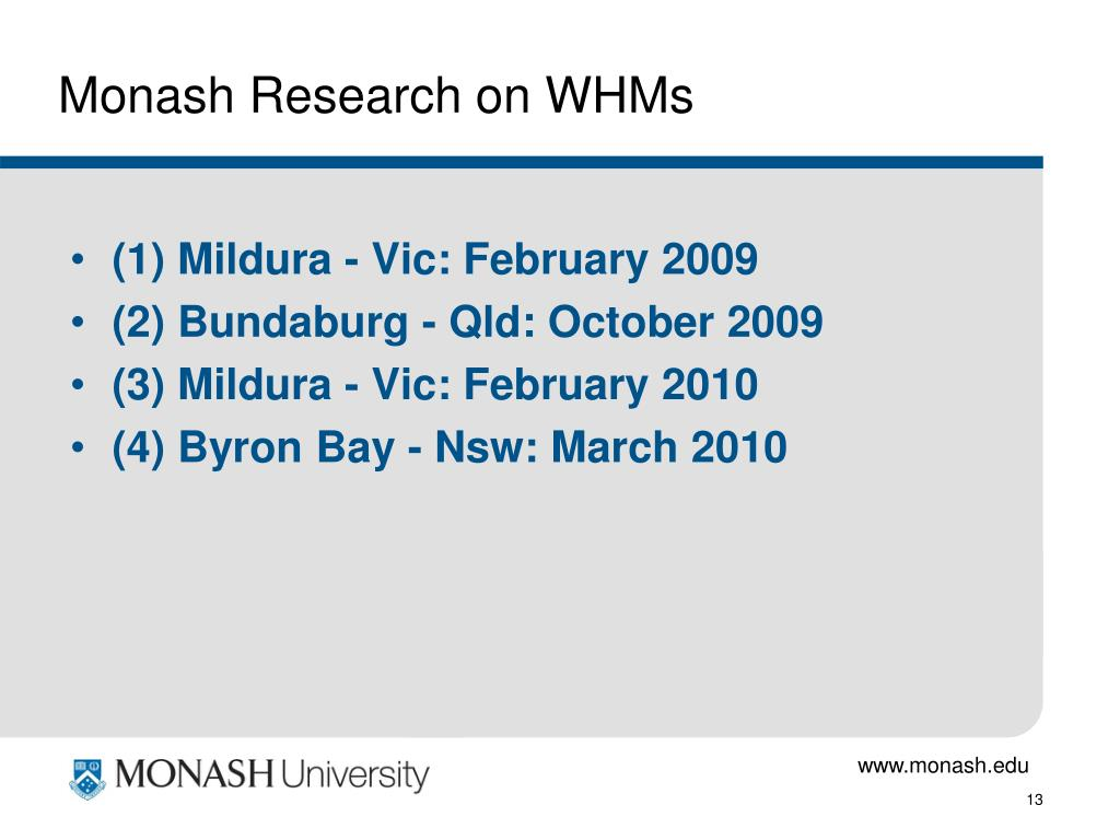 Monash Research on WHMs