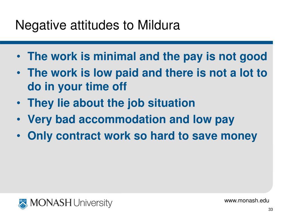 Negative attitudes to Mildura