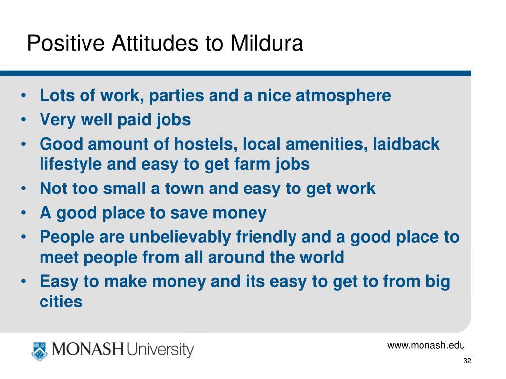 Positive Attitudes to Mildura