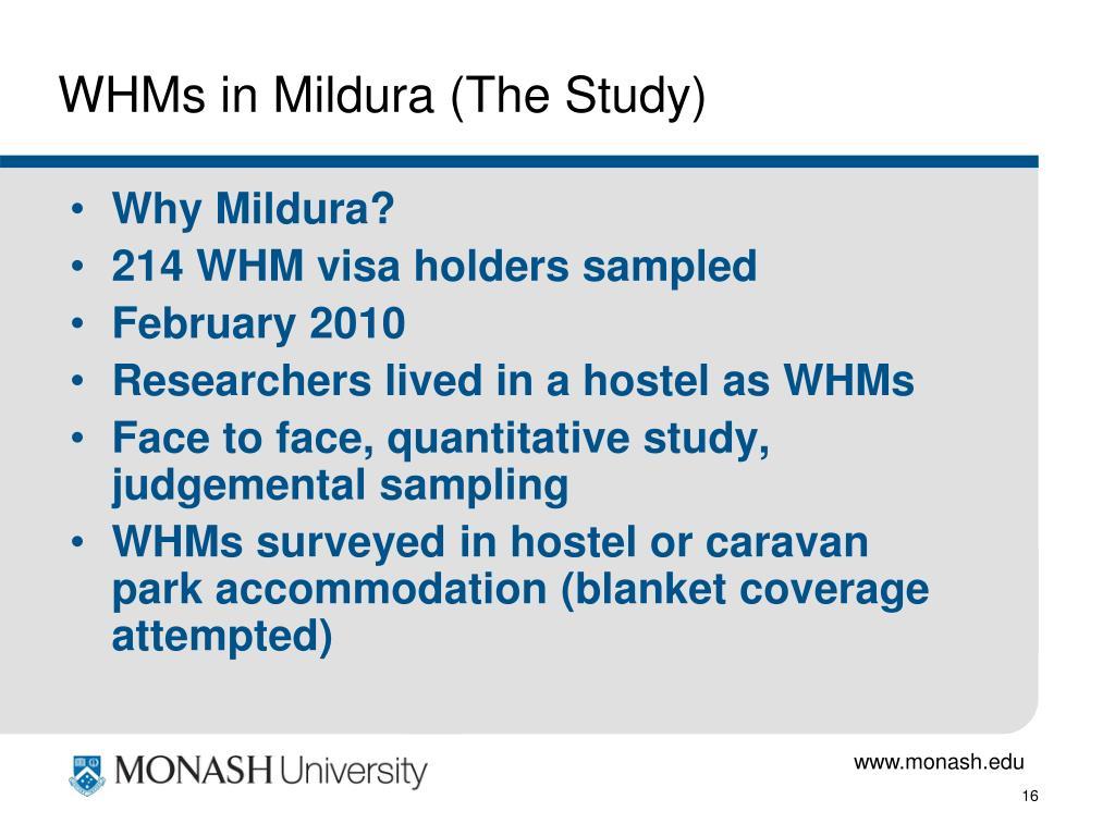 WHMs in Mildura (The Study)