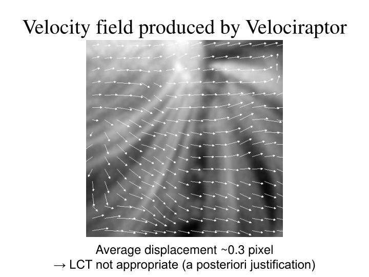 Velocity field produced by Velociraptor