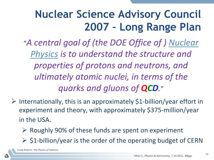 Nuclear Science Advisory Council 2007 – Long Range Plan