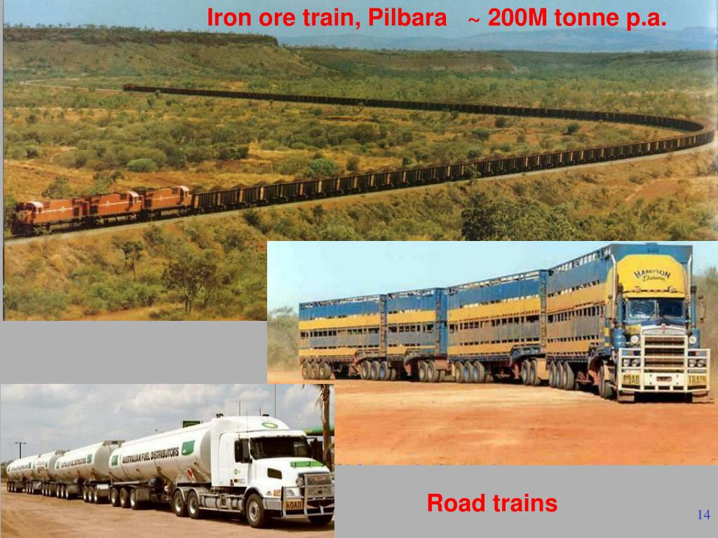 Iron ore train, Pilbara   ~ 200M tonne p.a.