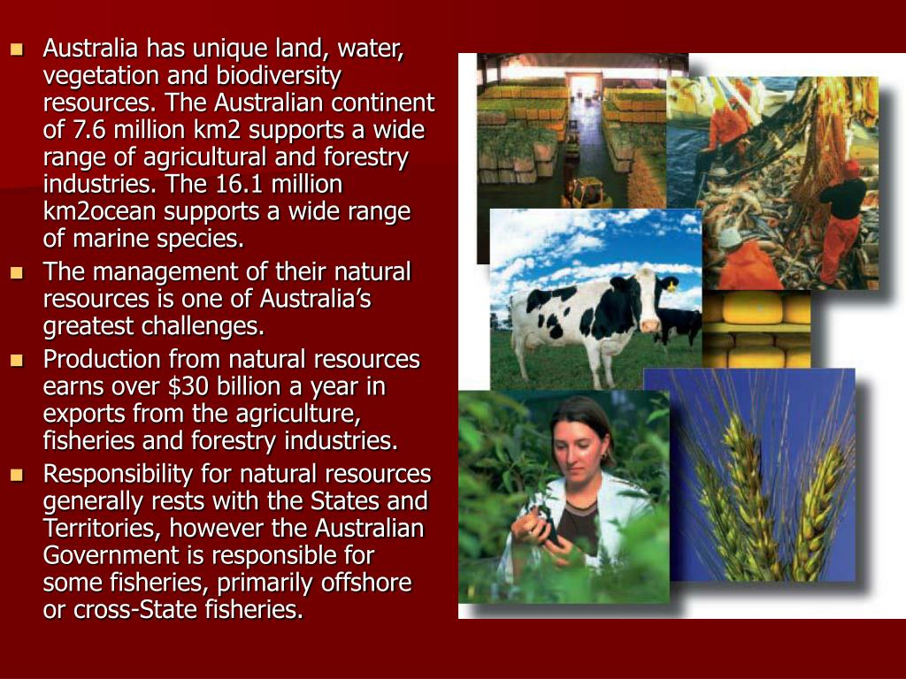 Australia has unique land, water, vegetation and biodiversity resources. The Australian continent of 7.6 million km2 supports a wide range of agricultural and forestry industries. The 16.1 million km2ocean supports a wide range of marine species.