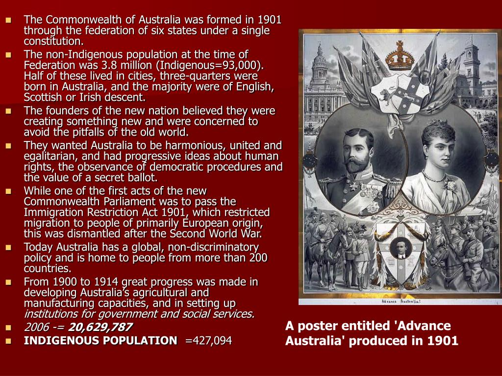 The Commonwealth of Australia was formed in 1901 through the federation of six states under a single constitution.