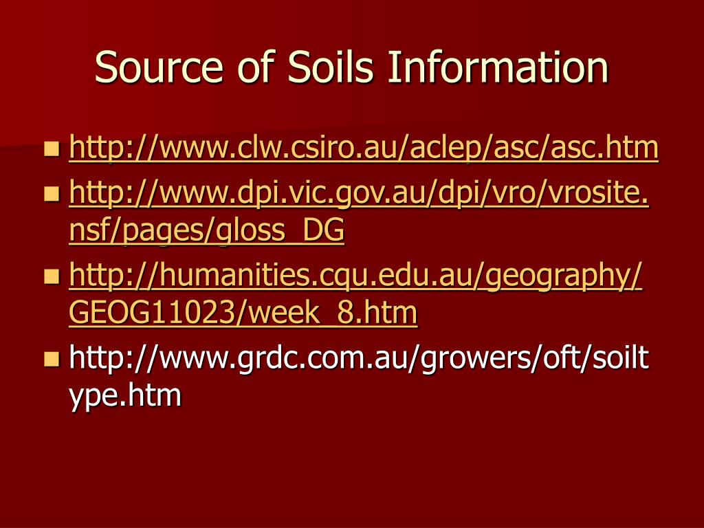 Source of Soils Information