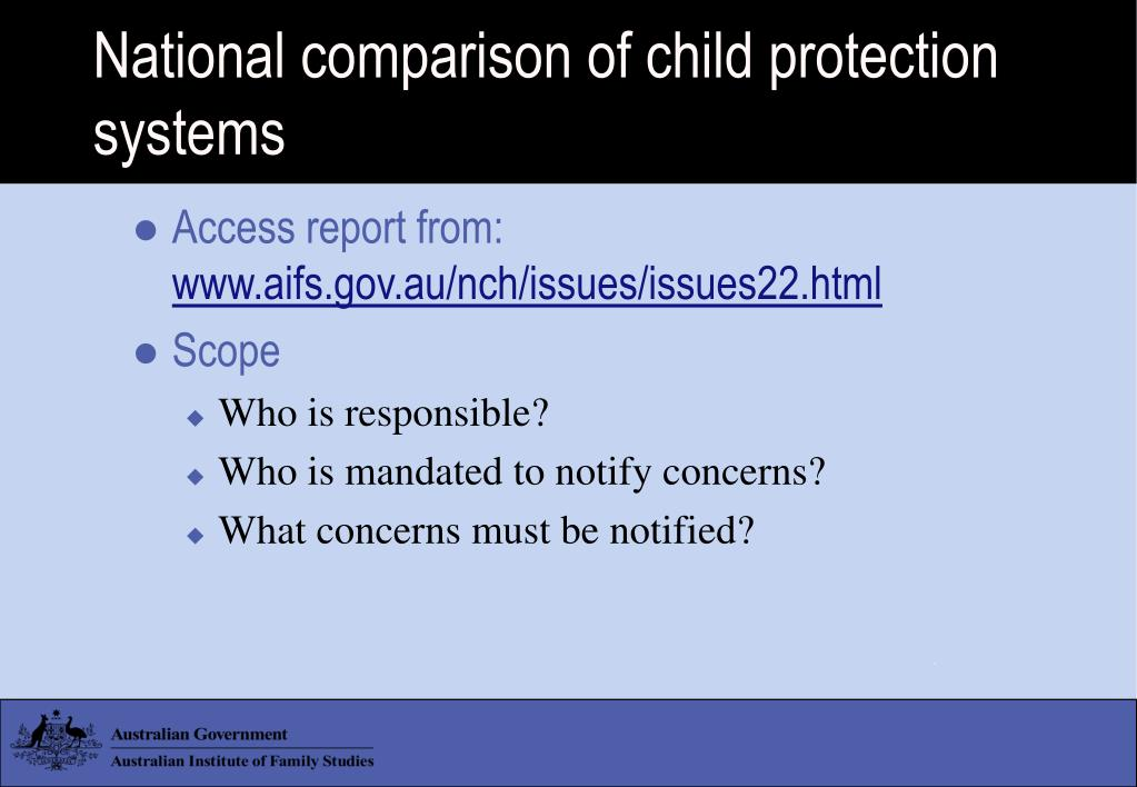 National comparison of child protection systems