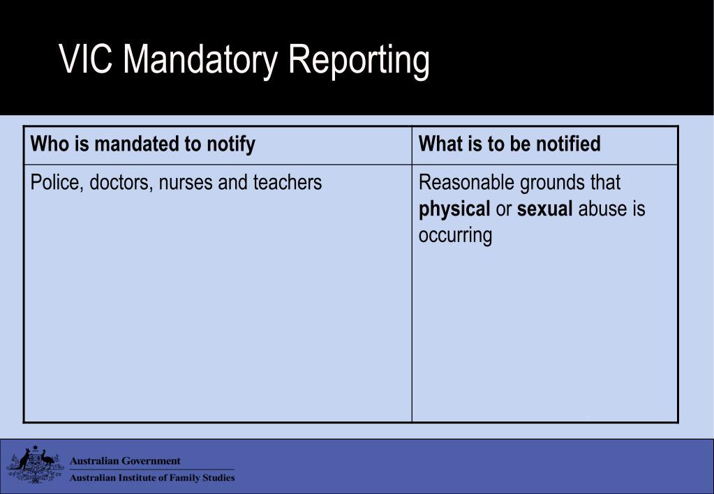VIC Mandatory Reporting