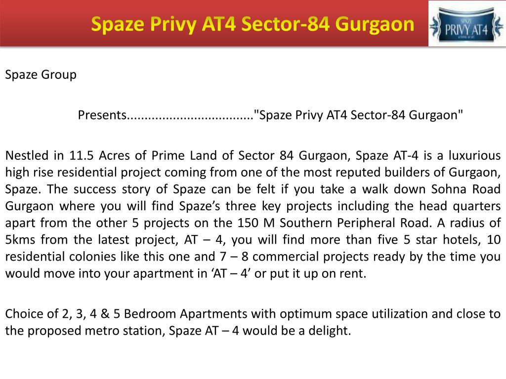 Spaze Privy AT4 Sector-84 Gurgaon