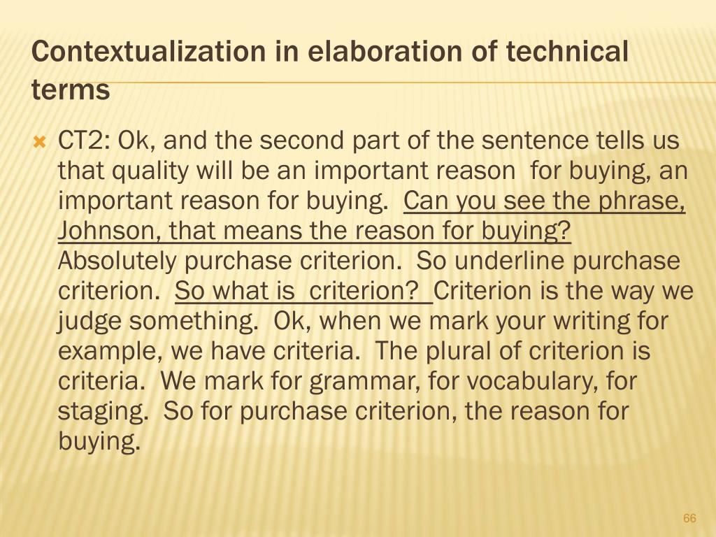 Contextualization in elaboration of technical terms