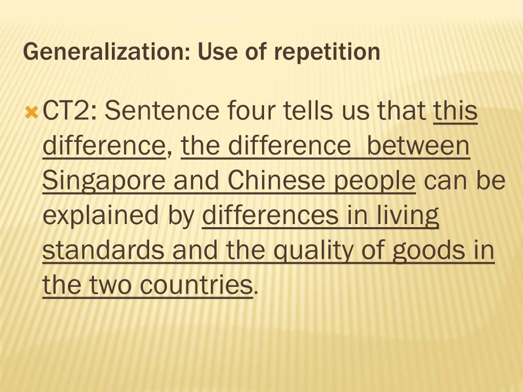 Generalization: Use of repetition