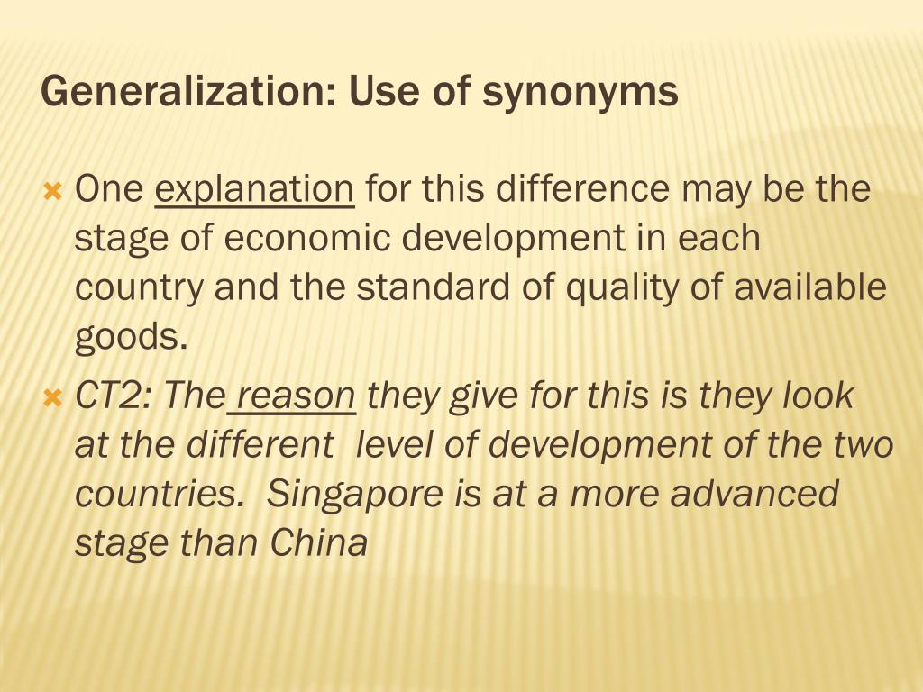 Generalization: Use of synonyms