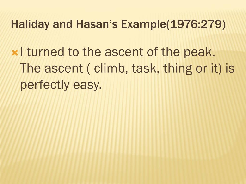 Haliday and Hasan's Example(1976:279)