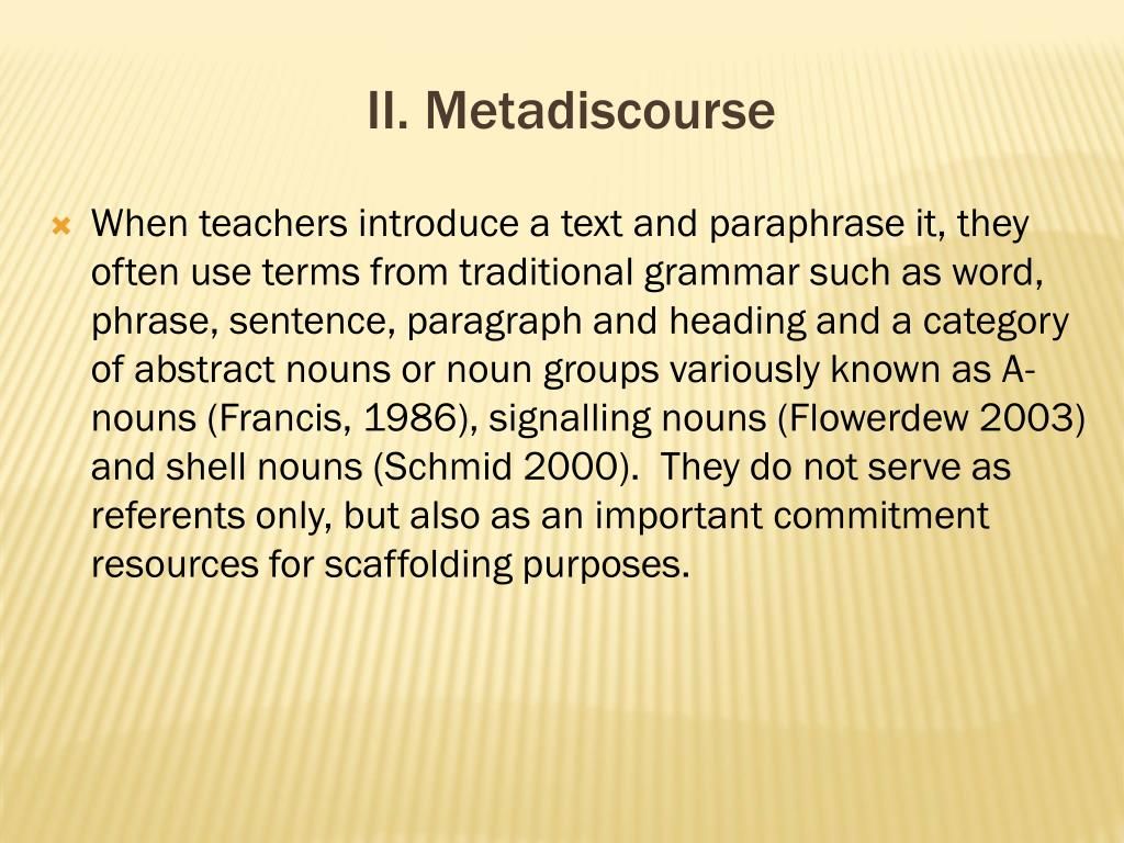 II. Metadiscourse