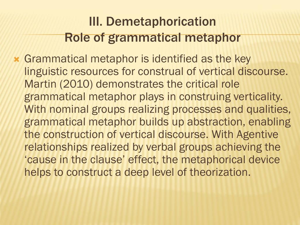 III. Demetaphorication