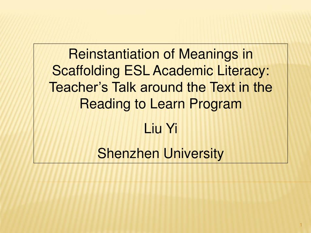 Reinstantiation of Meanings in Scaffolding ESL Academic Literacy: Teacher's Talk around the Text in the Reading to Learn Program