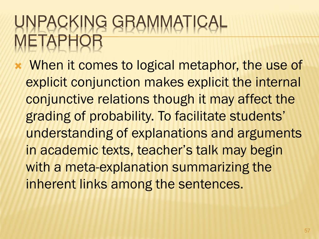 Unpacking Grammatical Metaphor