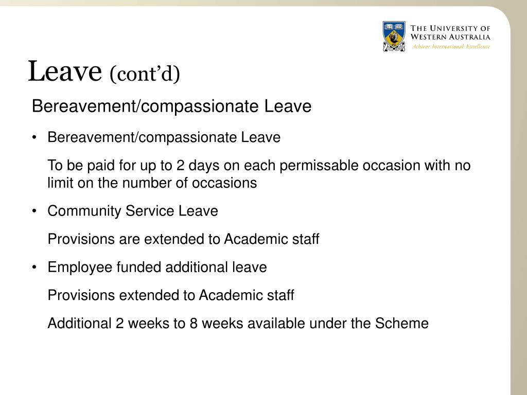 Bereavement/compassionate Leave