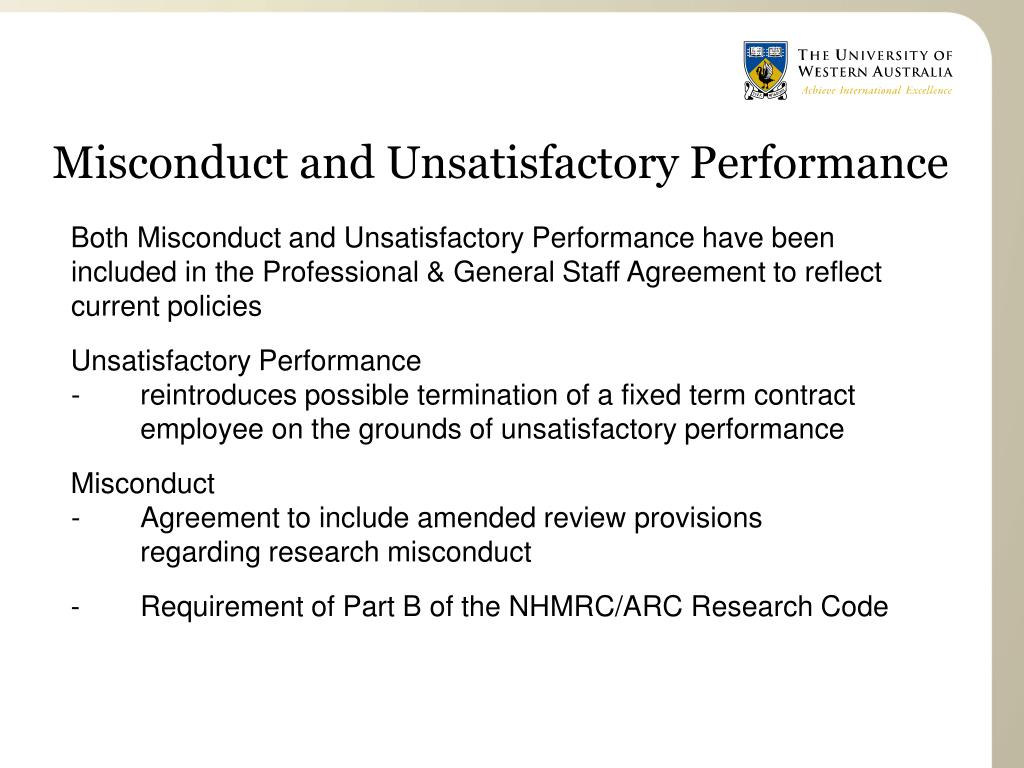 Misconduct and Unsatisfactory Performance